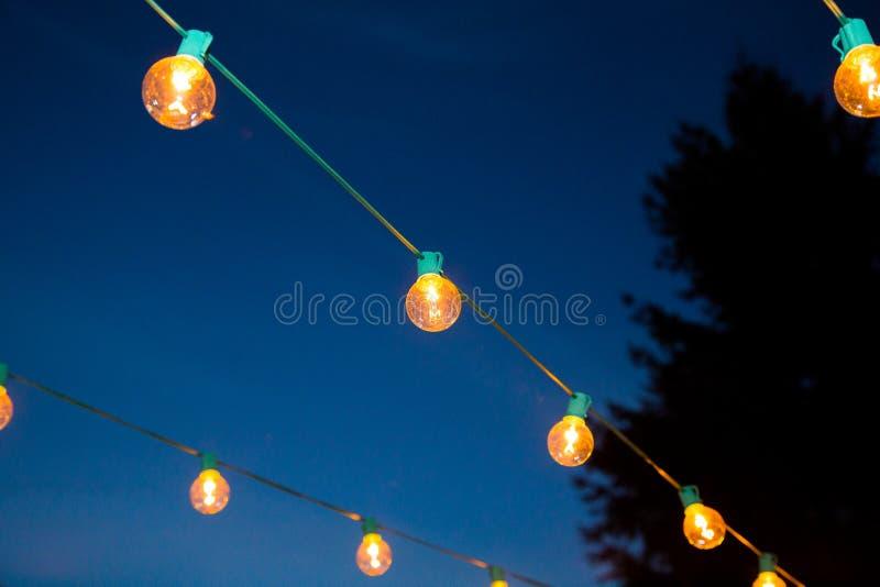 Hanging Strands of Lights stock images