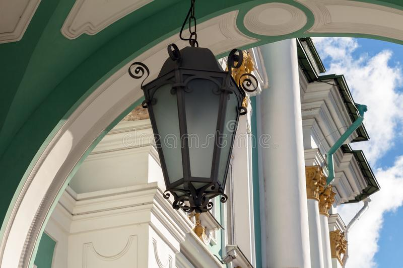 Hanging street lamp in the old style. Hermitage, St. Petersburg, Russia royalty free stock images