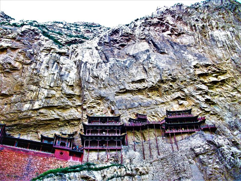 Hanging Temple in Datong city, China. Hanging Temple or Xuankong Temple in Datong city, China. Art, architecture, history, religion, genius, cliff, mountain, sky stock photo