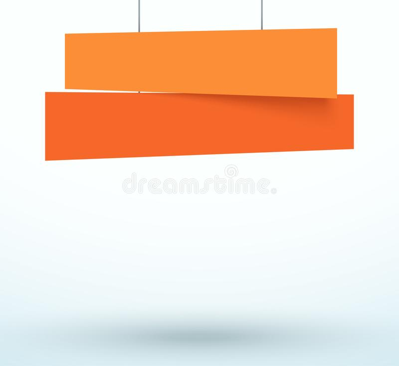 Hanging Title Ribbon 2 Line Overlapping Banner royalty free illustration