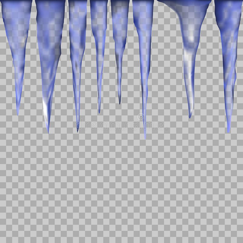 Hanging translucent icicles in blue colors on transparent background. vector illustration