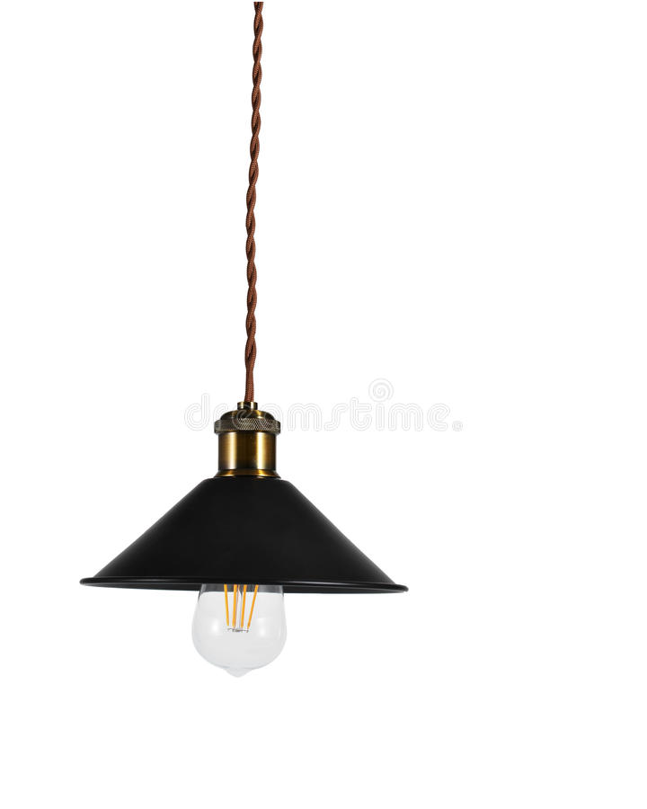 Hanging vintage electric led lamp. On white background.Vintage style.three generations of light bulb such as regular incandescent lamp bulb, energy saving royalty free stock photography