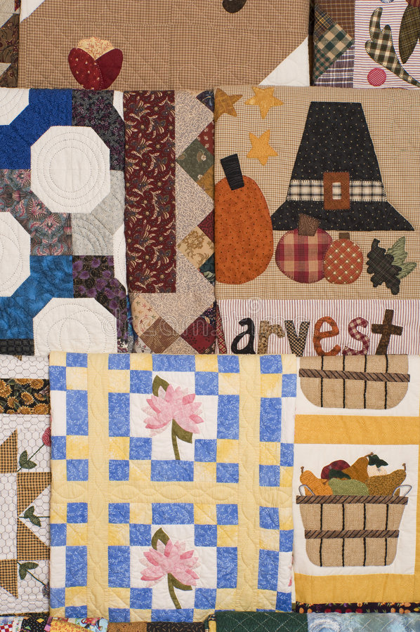 Hanging wall quilts royalty free stock images