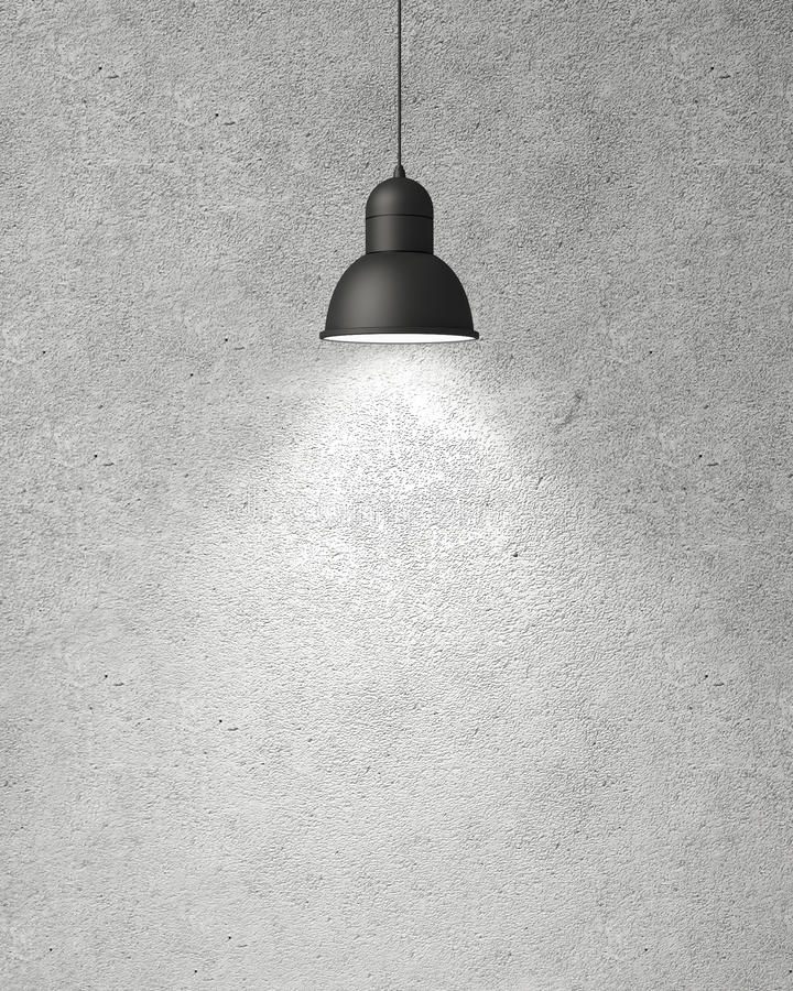 Free Hanging White Lamp With Shadow On Concrete Wall, Background Stock Photography - 46999302