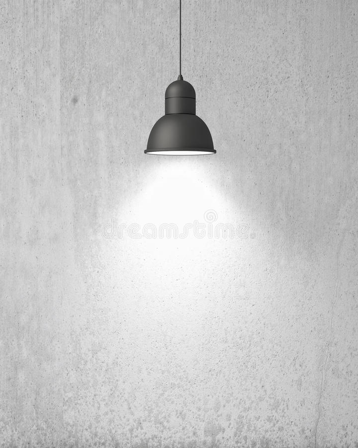 Free Hanging White Lamp With Shadow On Old Vintage Painted Wall, Background Stock Photo - 46999380