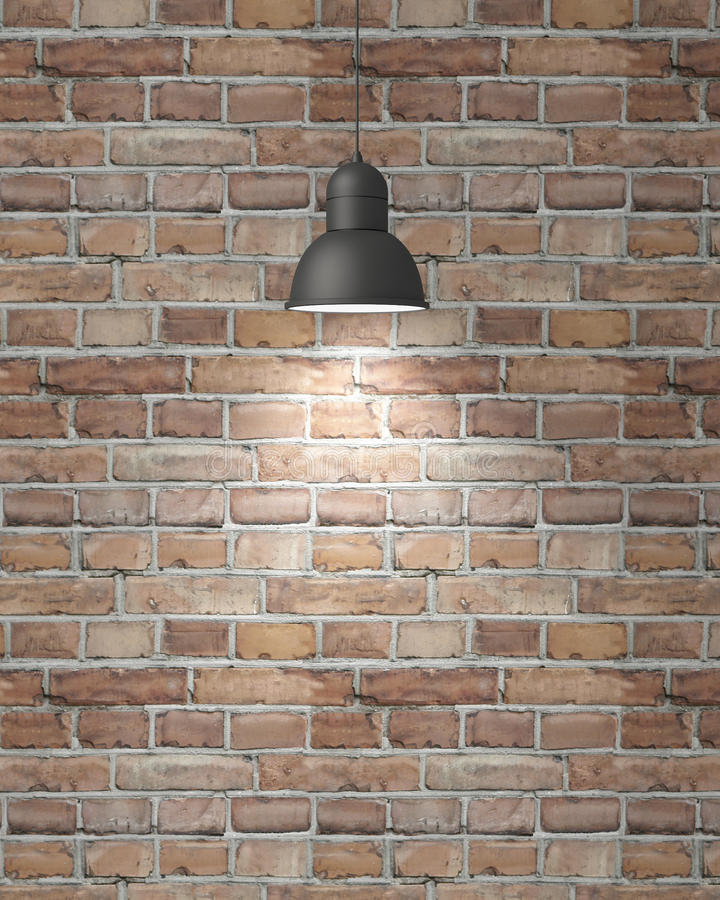 Free Hanging White Lamp With Shadow On Vintage Brick Wall, Background Royalty Free Stock Images - 46999469