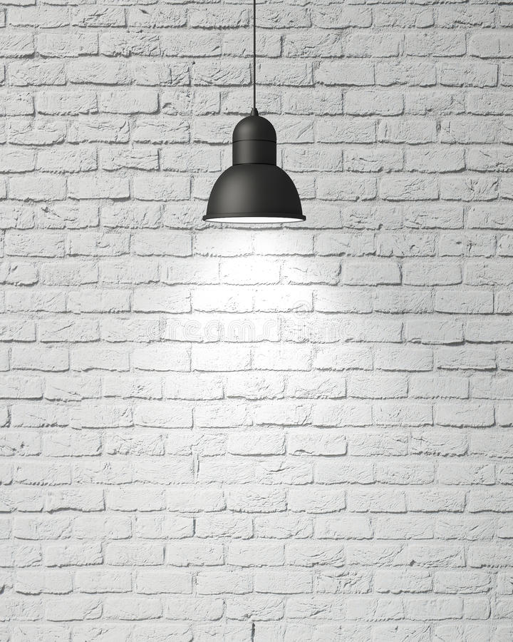 Free Hanging White Lamp With Shadow On Vintage White Painted Brick Wall, Background Stock Images - 46999364
