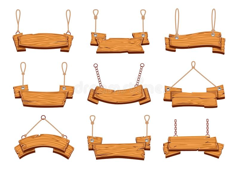 Hanging wood signs. Blank wooden signboards banners with ropes, vintage billboard with plywood texture cartoon isolated stock illustration