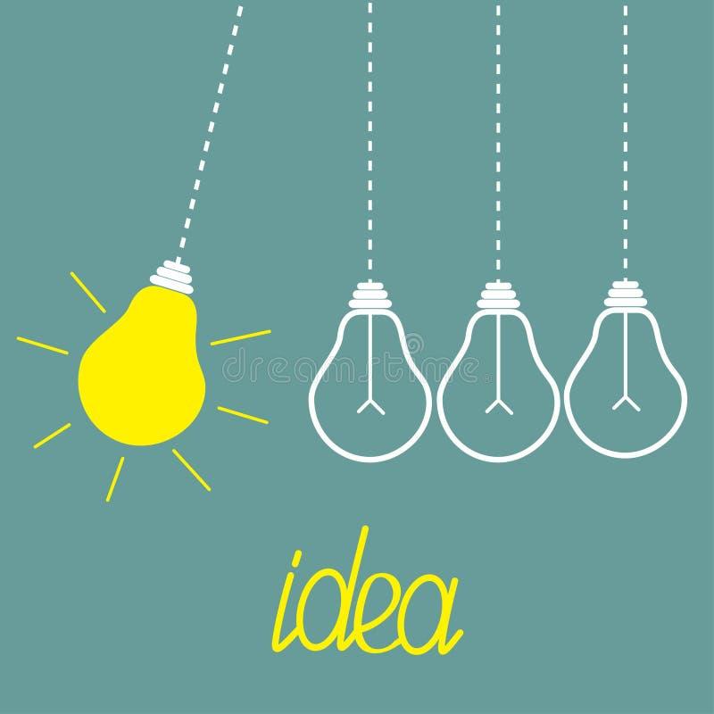 Hanging yellow light bulbs. Perpetual motion. Idea stock illustration