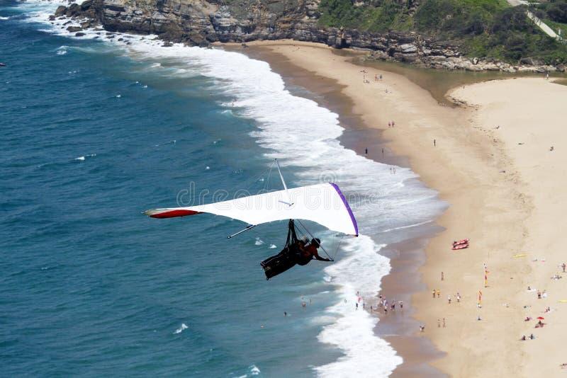 Hanglider au-dessus de la plage photos libres de droits