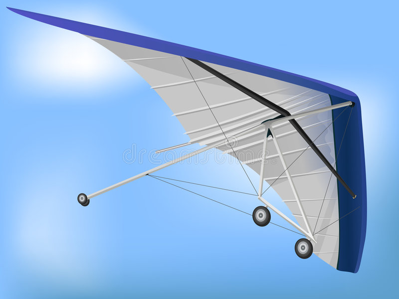 Hanglider Paragliding Wing. 3d Hanglider Paragliding Wing in Perspective stock illustration