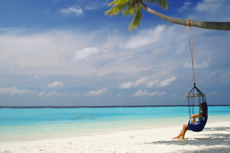 Hangmat de Maldiven royalty-vrije stock foto's
