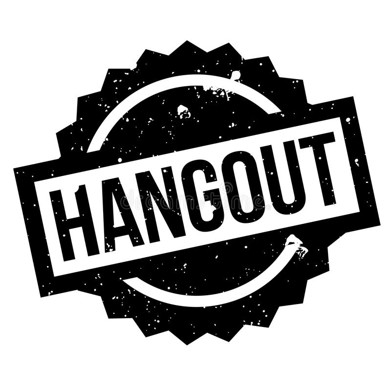 Hangout rubber stamp. Grunge design with dust scratches. Effects can be easily removed for a clean, crisp look. Color is easily changed stock illustration