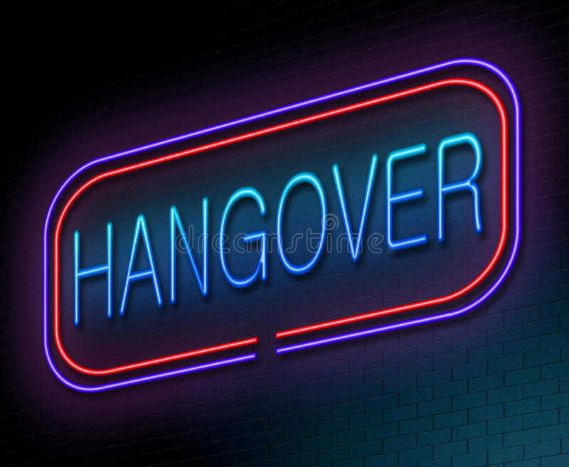Hangover concept. Illustration depicting an illuminated neon sign with a hangover concept stock illustration