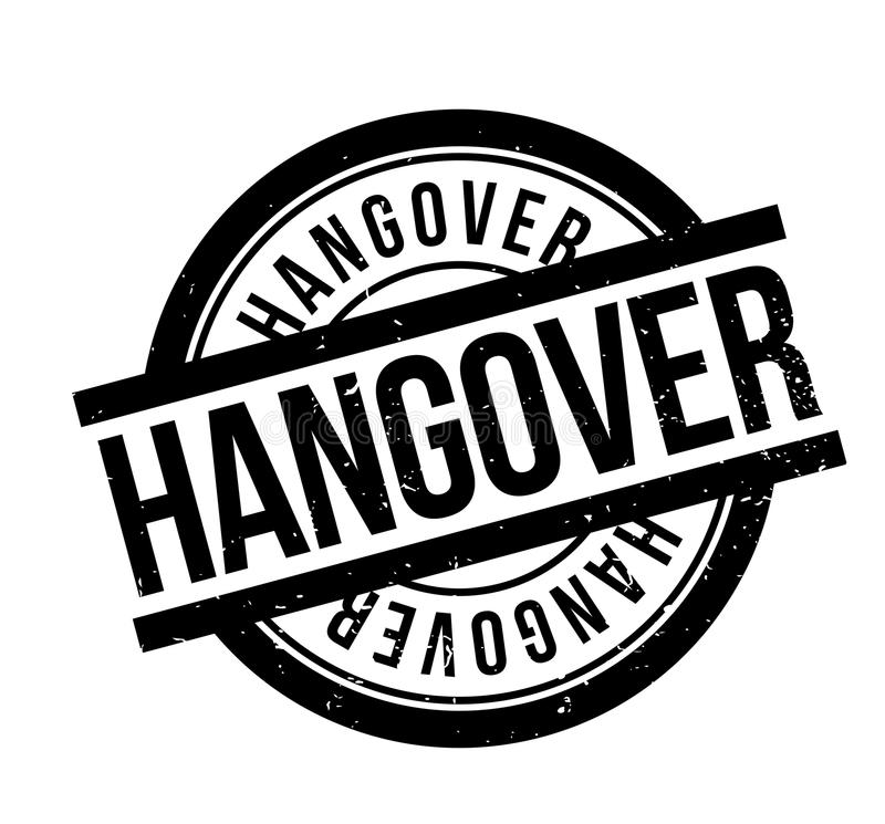 Hangover rubber stamp. Grunge design with dust scratches. Effects can be easily removed for a clean, crisp look. Color is easily changed stock illustration