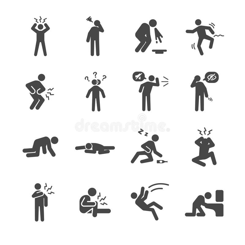 Hangover and sick icons set royalty free illustration