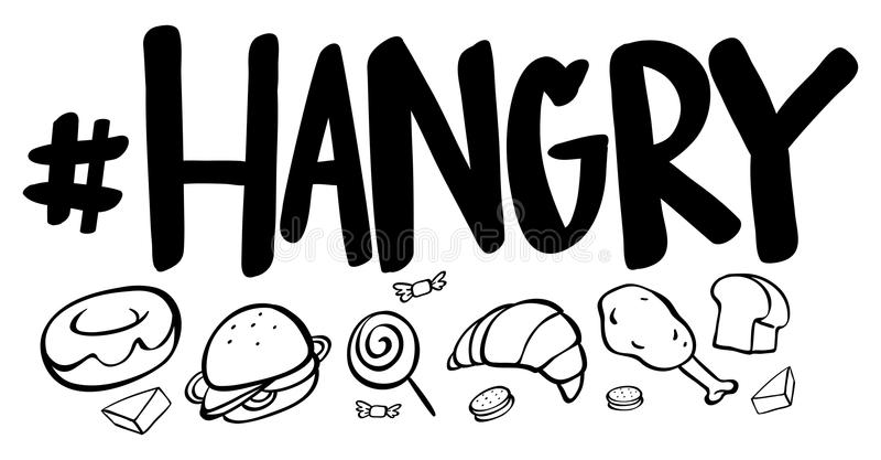 hangry的词表示与许多食物 库存例证