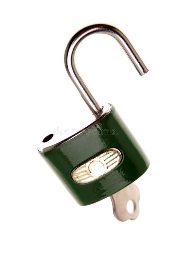 Hangslot & sleutel stock foto