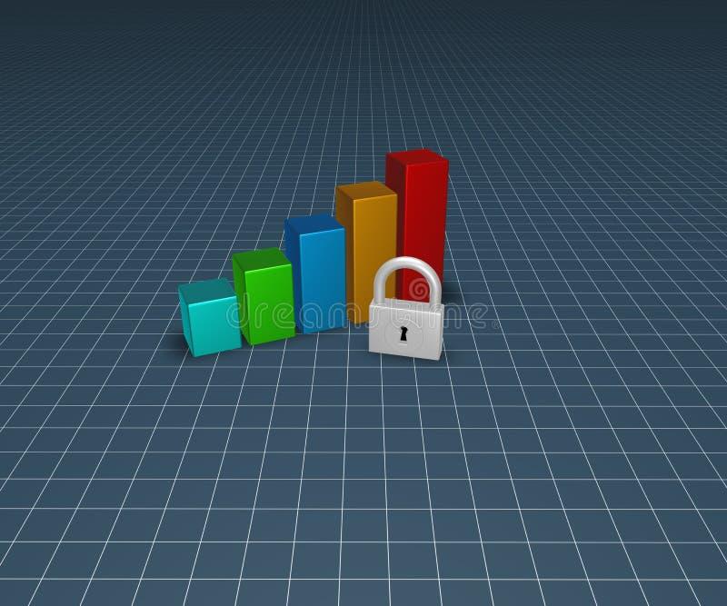 Hangslot en bedrijfsgrafiek vector illustratie
