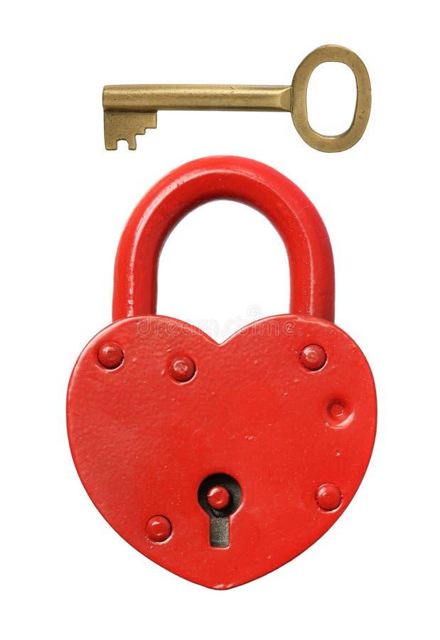 Hangslot en sleutel stock afbeelding