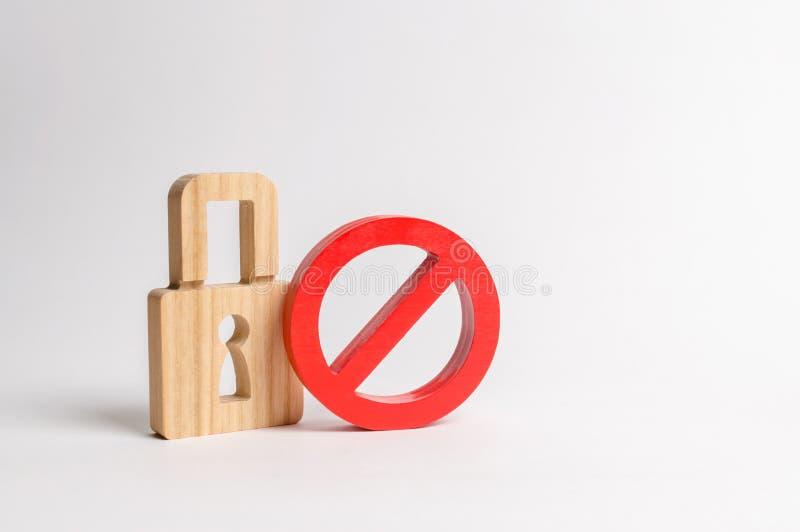 Hangslot en symbool Nr Het concept bescherming van persoonlijke rechten en vrijheden Belemmer encryptie stock afbeelding