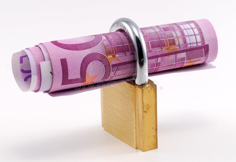 Hangslot met bankbiljet royalty-vrije stock afbeeldingen