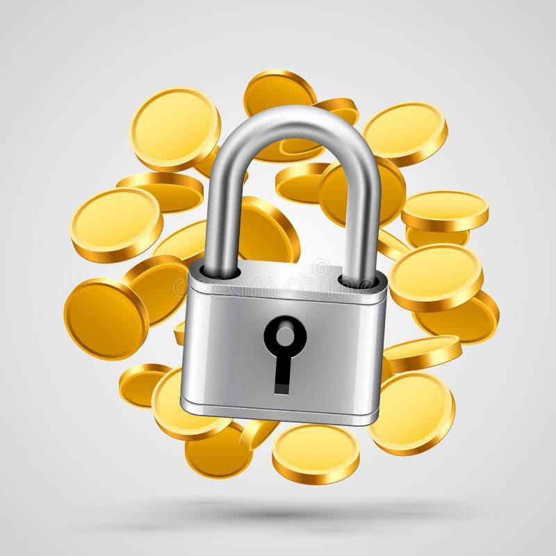Hangslot met gouden muntstukkenobjecten pictogram vector illustratie