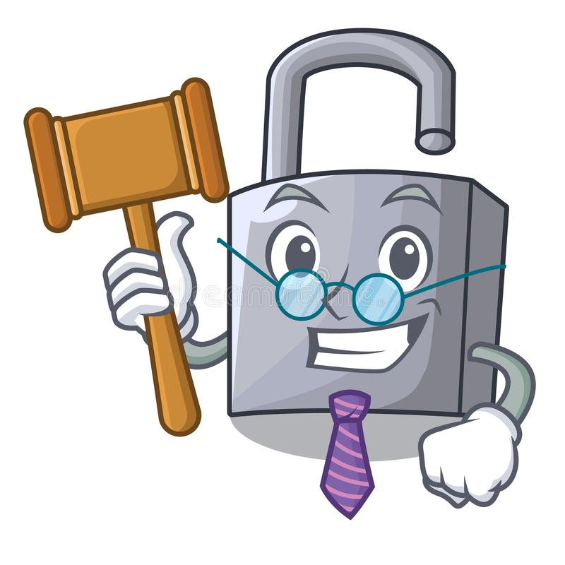 Hangslot van het rechters het nieuwe die metaal op mascotte wordt geïsoleerd royalty-vrije illustratie