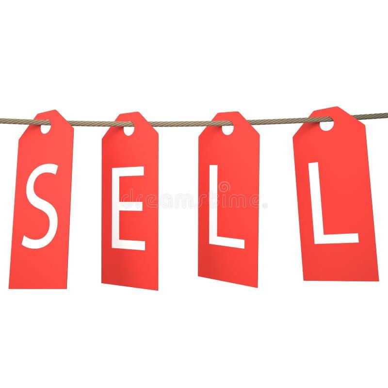 Hangt het verkoop Rode Etiket Geïsoleerdj op witte achtergrond stock fotografie