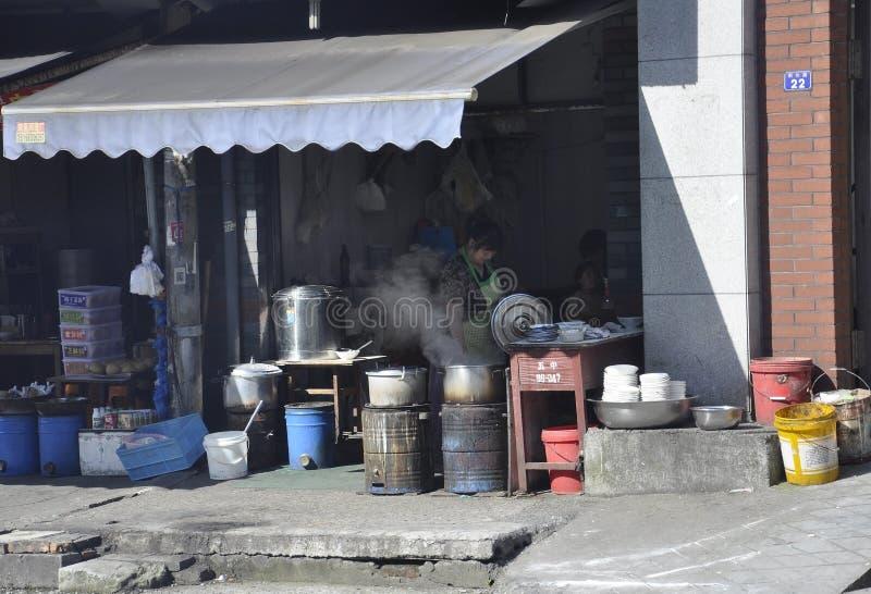 Hangzhou, 4ème peut : Marché traditionnel de nourriture d'un secteur de taudis de Hangzhou photo stock