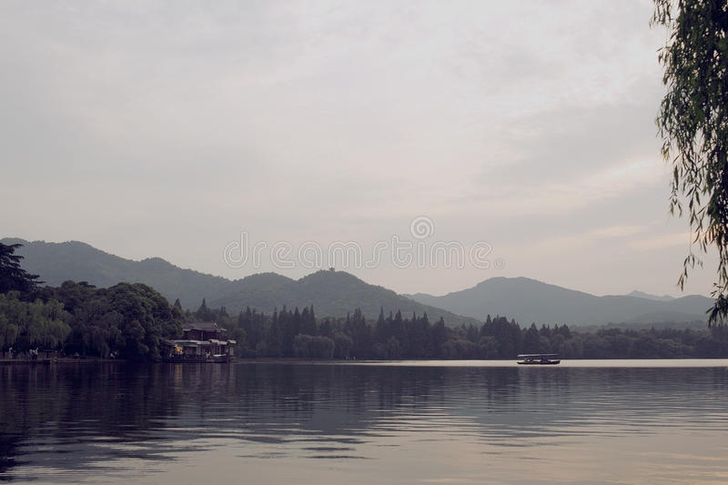 Hangzhou. Evening at lake royalty free stock photography