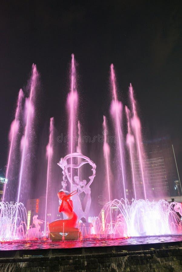 Hangzhou a illuminé la nuit d'exposition de musique de fontaine d'eau photos libres de droits