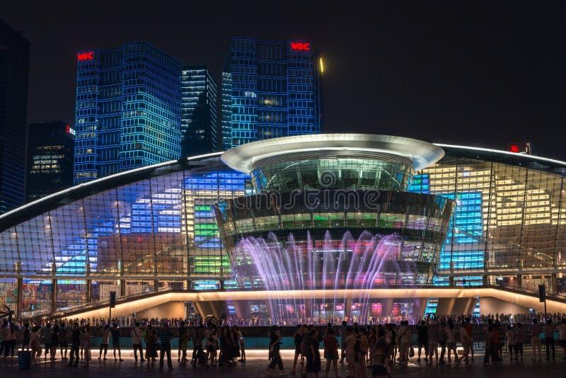 HANGZHOU ILLUMINATION AND FOUNTAIN NIGHT LED royalty free stock photos