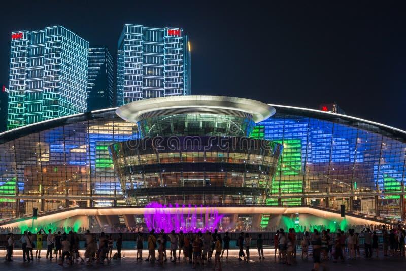 HANGZHOU ILLUMINATION AND FOUNTAIN NIGHT LED royalty free stock images