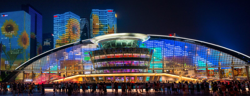 HANGZHOU ILLUMINATION AND FOUNTAIN NIGHT LED royalty free stock image
