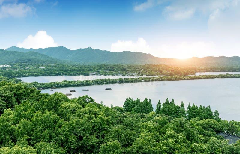 Hangzhou jeziora Zachodni krajobraz obraz stock