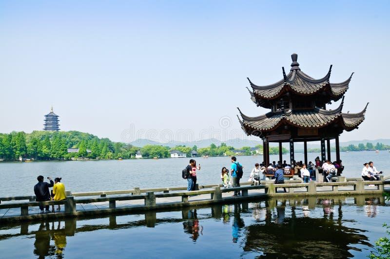 Hangzhou jeziora zachodni krajobraz w Chiny, obrazy stock