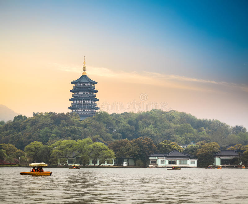 Hangzhou scenery at dusk. Hangzhou scenery,pagoda on the west lake lakefront in dusk stock photos