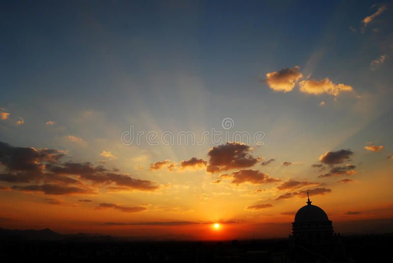 Hangzhou sunset stock photo