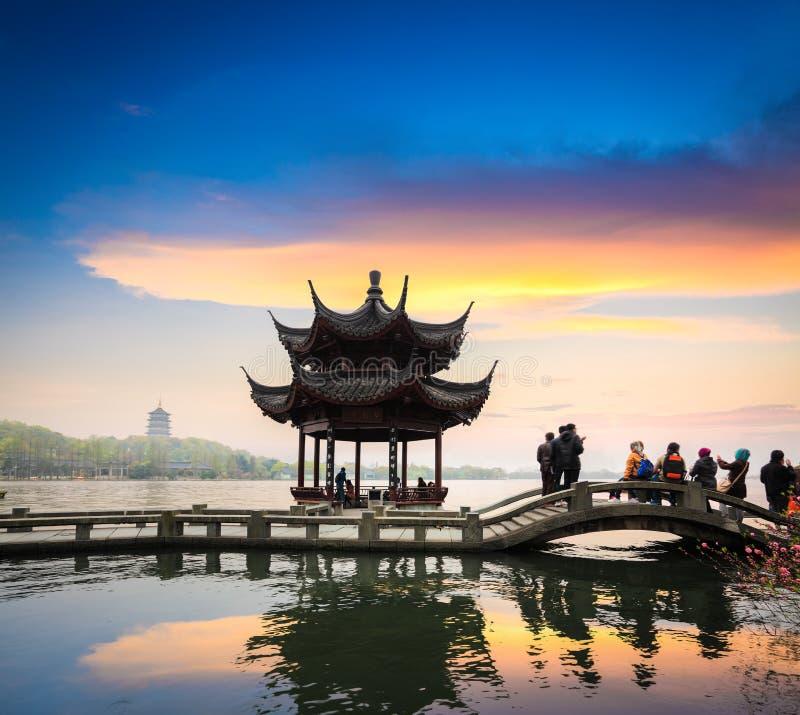Hangzhou w zmierzchu zdjęcie royalty free