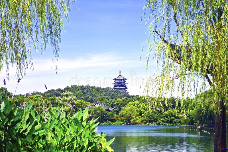 Hangzhou West Lake With Reflection of Leifeng Pagoda in a Sunny Day royalty free stock photo