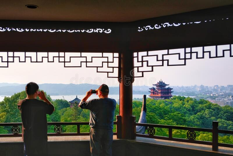 Hangzhou West Lake skyline, Zhejiang, China 杭州. Skyline view of touristy Hangzhou West Lake stock image