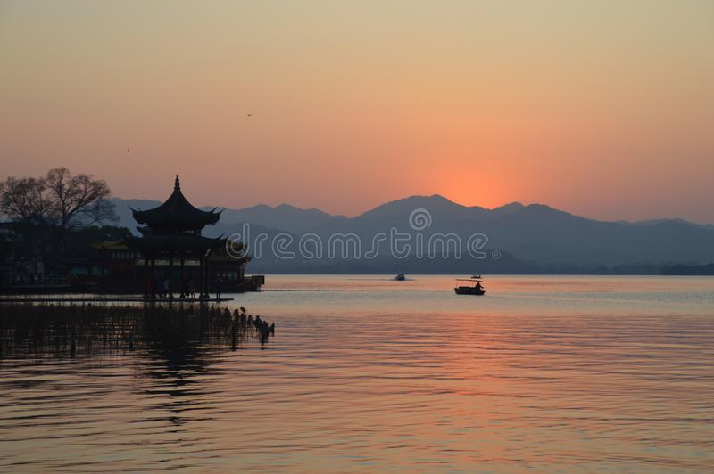 Hangzhou Zachodni Jeziorny Sceniczny krajobraz zdjęcie royalty free