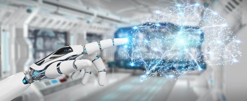 Hanid bianco di umanoide che crea renderi di intelligenza artificiale 3D illustrazione vettoriale