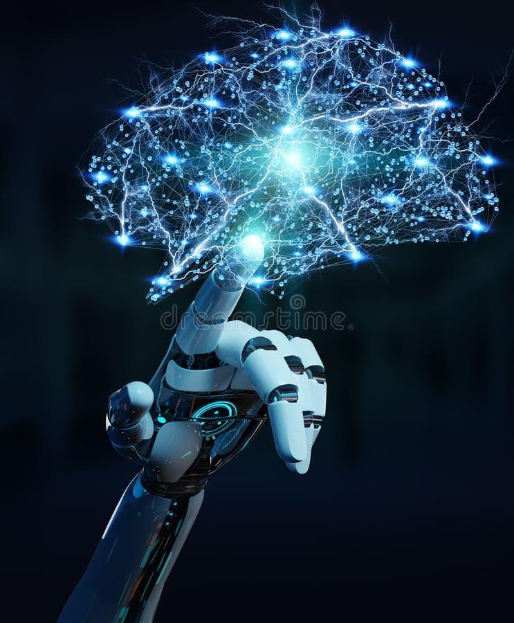 Hanid blanco del humanoid que crea renderi de la inteligencia artificial 3D