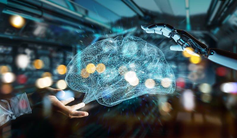 Hanid branco do humanoid que cria o renderi da inteligência artificial 3D