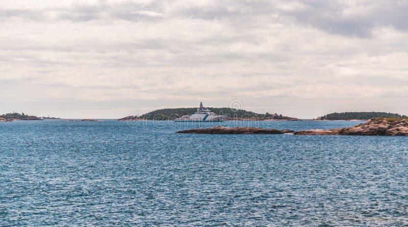 Hanko Finlandia, straż przybrzeżna statek na zewnątrz miasta zdjęcie royalty free