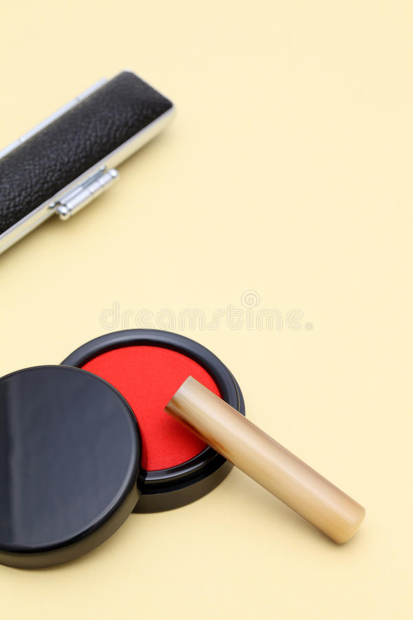 Hanko and ink pad. Close up of Japanese hanko and ink pad stock photos