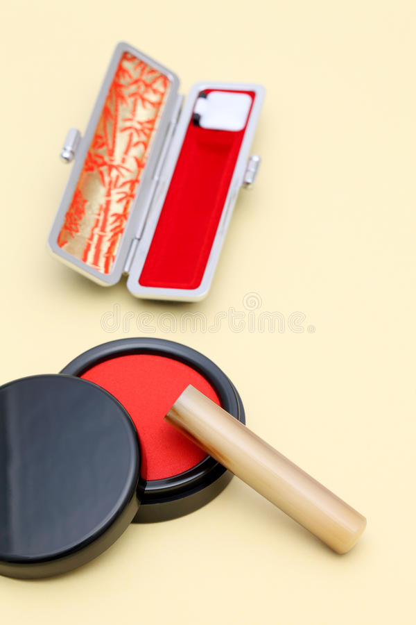 Hanko and ink pad. Close up of Japanese hanko and ink pad stock photography