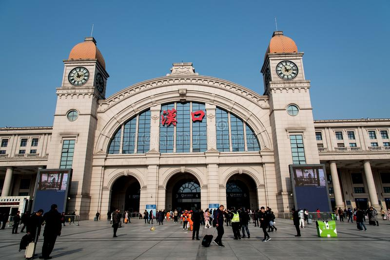 A view of Hankou railway station ,wuhan city,china stock photography